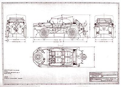 Schwimmwagen type 166 construction drawings